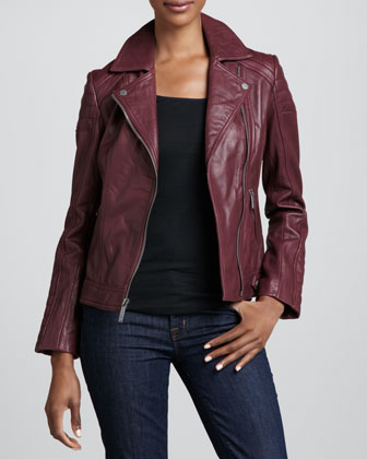 Neiman Marcus Notched-Collar Trapunto Leather Moto Jacket - Neiman Marcus