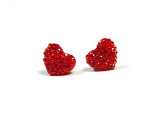 jewels earrings heart studs small shimmer sparkle valentine