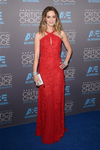emily blunt red dress gown clutch dress