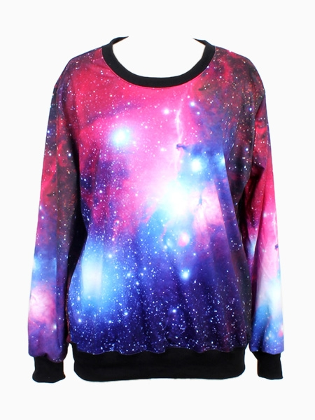 Sweatshirt In Purple Galaxy Print | Choies