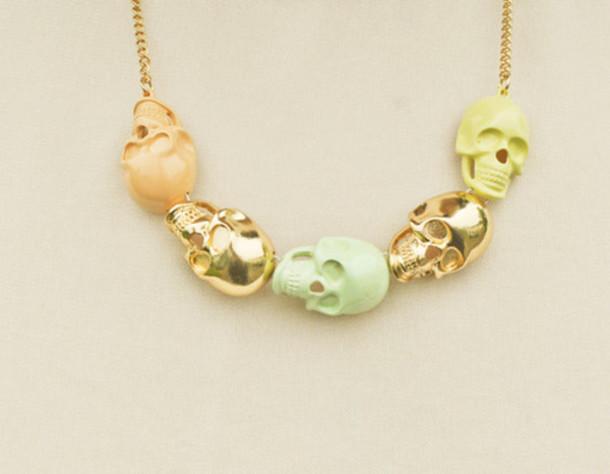 jewels necklace skull mint lemon skull