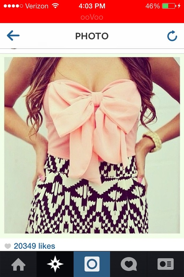 skirt aztec bow shirt crop tops pink black white tank top