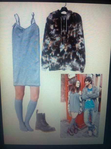 effy stonem skins jacket sweat dress hoodie sweater blue dress