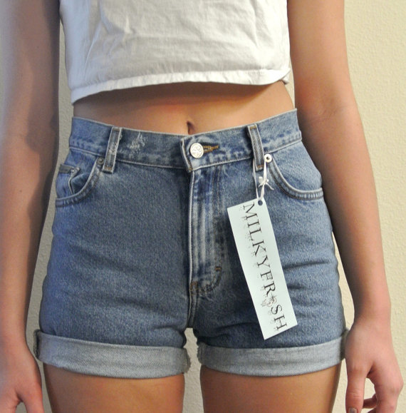 High Waisted Shorts Calvin Klein Cuffed Denim Milky by ShopMilky on Wanelo