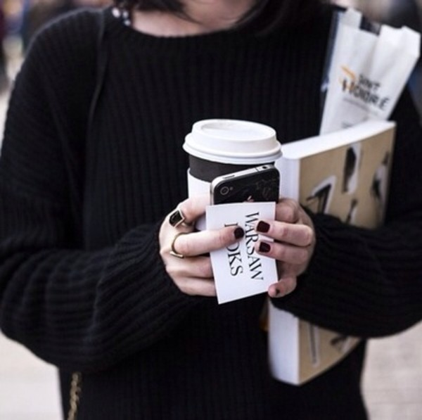 sweater black cozy black sweater ring coffee gold ring