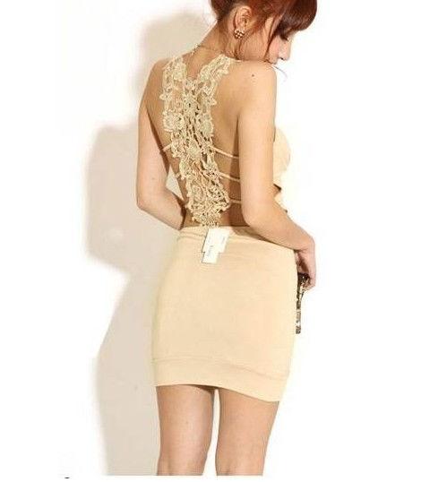 Fashion Womens Sexy Slim Lace Back Backless Clubwear Party Cocktail Mini Dress | eBay
