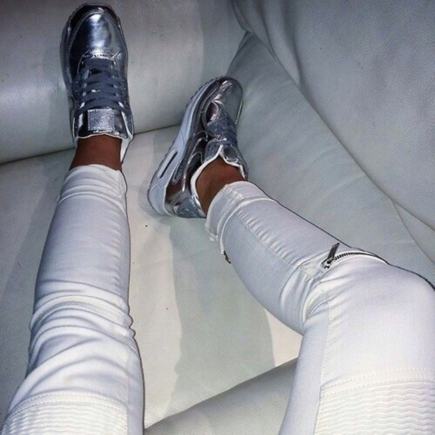 shoes white nike shoes nike metallic shoes jeans