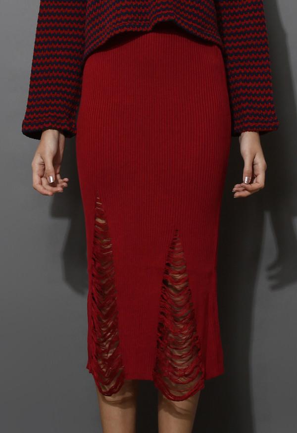 skirt shredded knit skirt red