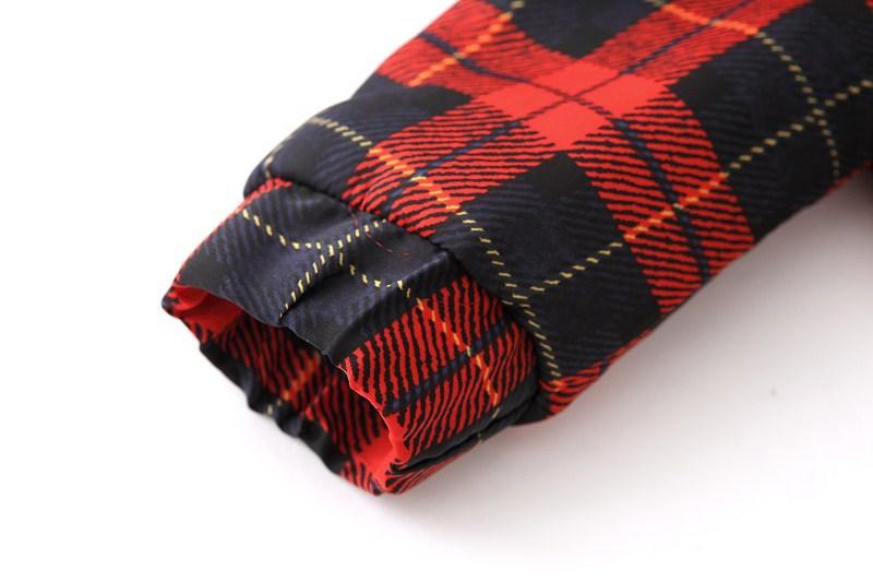 Red Black Plaid Long Sleeve Pockets Jacket - Sheinside.com