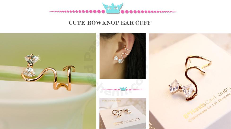 Pashenn.com - Lovely Fashion Alloy Plated 18K Gold Bowknot Cubic Zirconia Women's Single Ear Cuff-Gold - Cuff Earrings - 049555