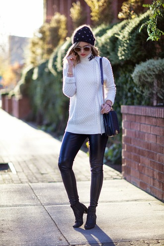 late afternoon blogger bag sunglasses leather pants knitted sweater beanie winter outfits sweater pants shoes hat jewels