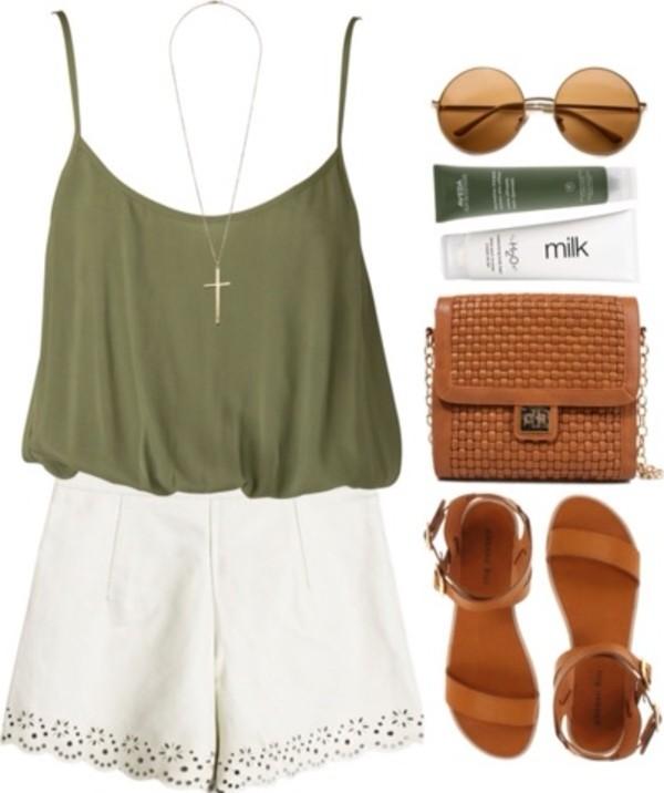 blouse tank top shorts romper top green flowy strap top