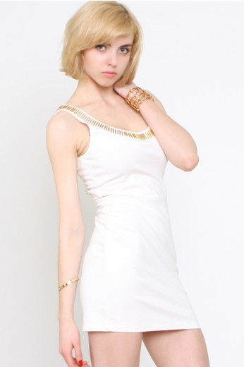 Ladakh Ammunition Dress- Ladakh White BodyCon Dress- $38