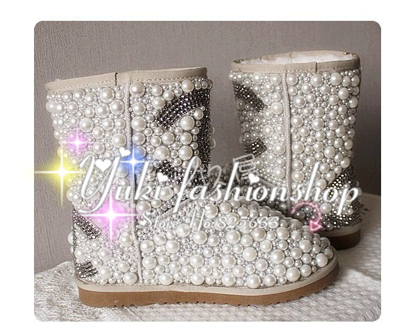 Drop shipping designer luxury Diamond pearl women snow boots, hand make Fashion Women Brand Winter Genuine Leather Fur Boots-in Boots from Shoes on Aliexpress.com