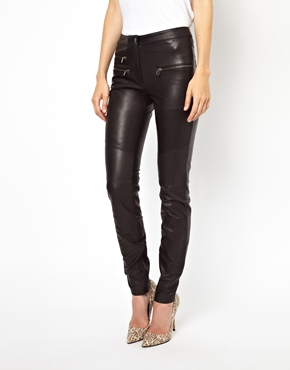 Selected | Selected Bean Leather Pants with Zip and Panel Detail at ASOS