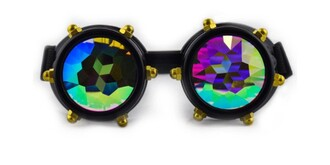 jewels glasses kaleidoscope holographic goggles steampunk goggles spikes black