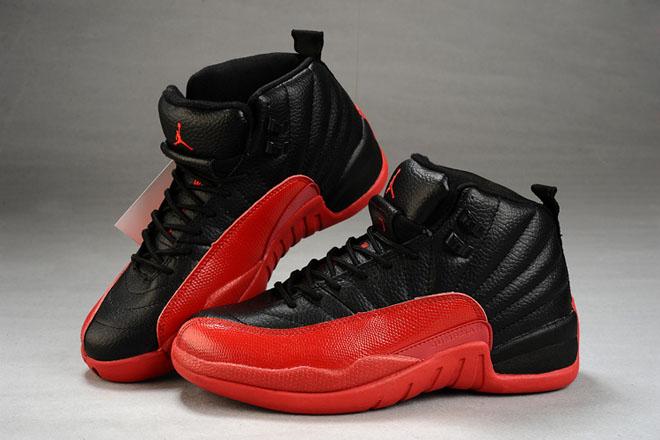 Air Jordan 12 Retro Womens Leather Black/Red Basketball Shoes