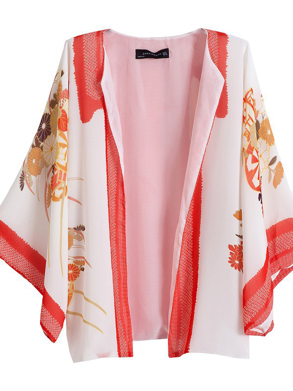 Collarless Long Sleeve Floral Prints Sheath Chiffon Blouse  : KissChic.com