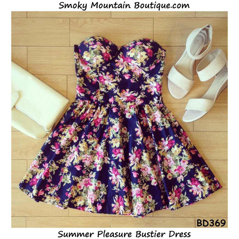 Summer Pleasure Multi Color Bustier Dress with Adjustable Straps Size XS s M | eBay