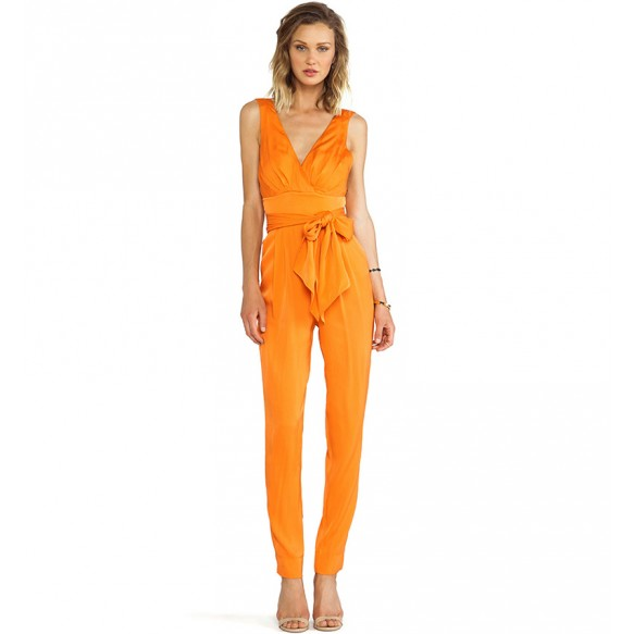 High Waist Jumpsuit With Bow Wrap Front And Open Back at Style Moi