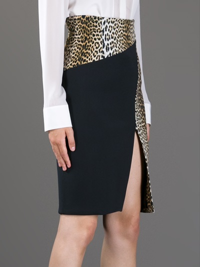 Emanuel Ungaro Leopard Print Paneled Skirt - Julian Fashion - Farfetch.com