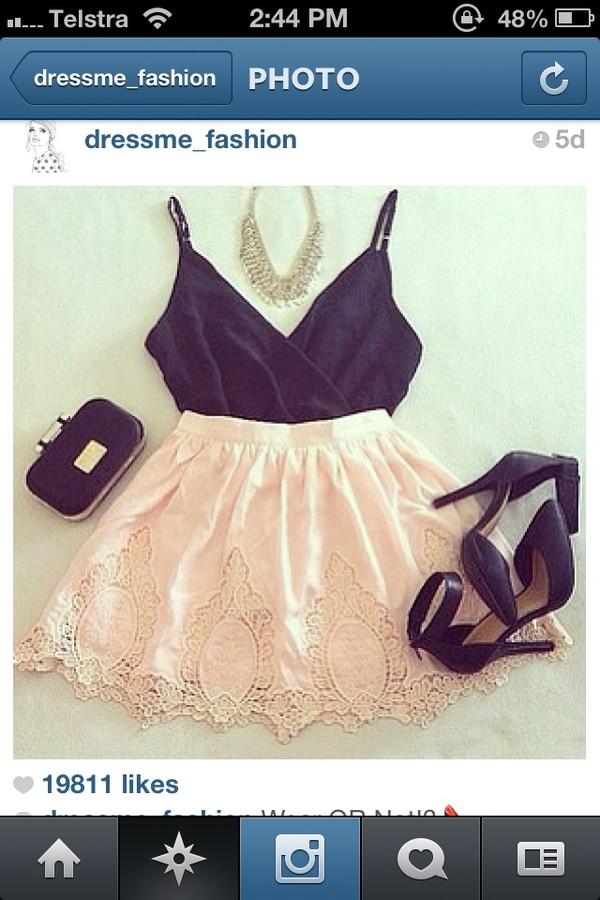 shirt singlet gorgeous clothes skirt black cute
