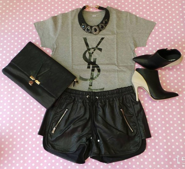 shorts bag jewels shirt leather shorts