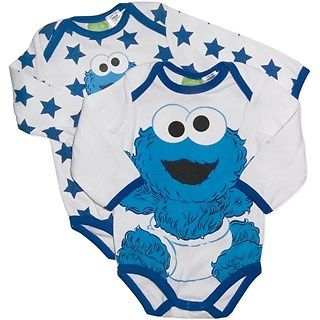 """Gorgeous"" Licensed Baby BOY SET OF TWO Elmo Long Sleeved Bodysuits Rompers 