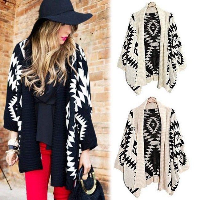 Geometric Aztec Tribal Knit Open Long Sleeve Oversized Womens Tops Cardigan E | eBay
