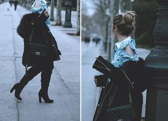 mesvoyagesàparis blogger blouse jeans coat shoes bag winter outfits chanel bag black coat boots