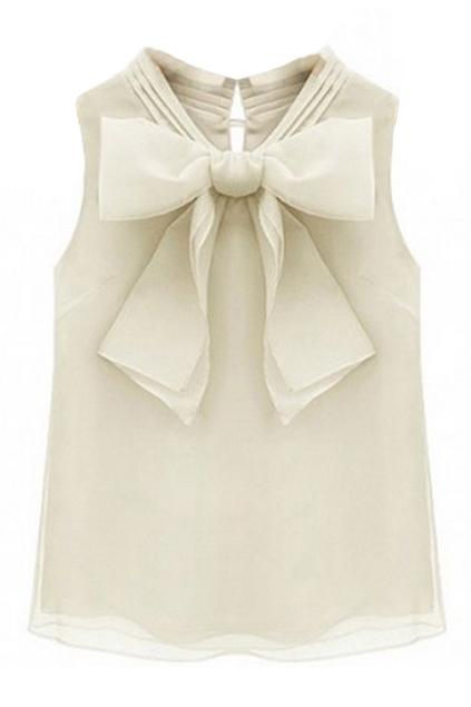 ROMWE   ROMWE Bowknot Shaped Sleeveless Mesh Cream Blouse, The Latest Street Fashion