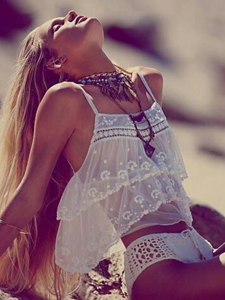 mesh top see through white top statement necklace crochet underwear