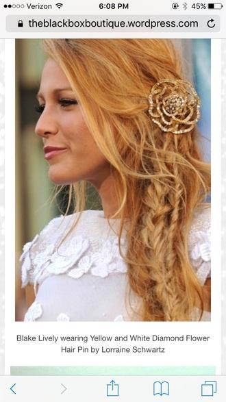 hair accessory gold flowers hair pin brooch diamonds blake
