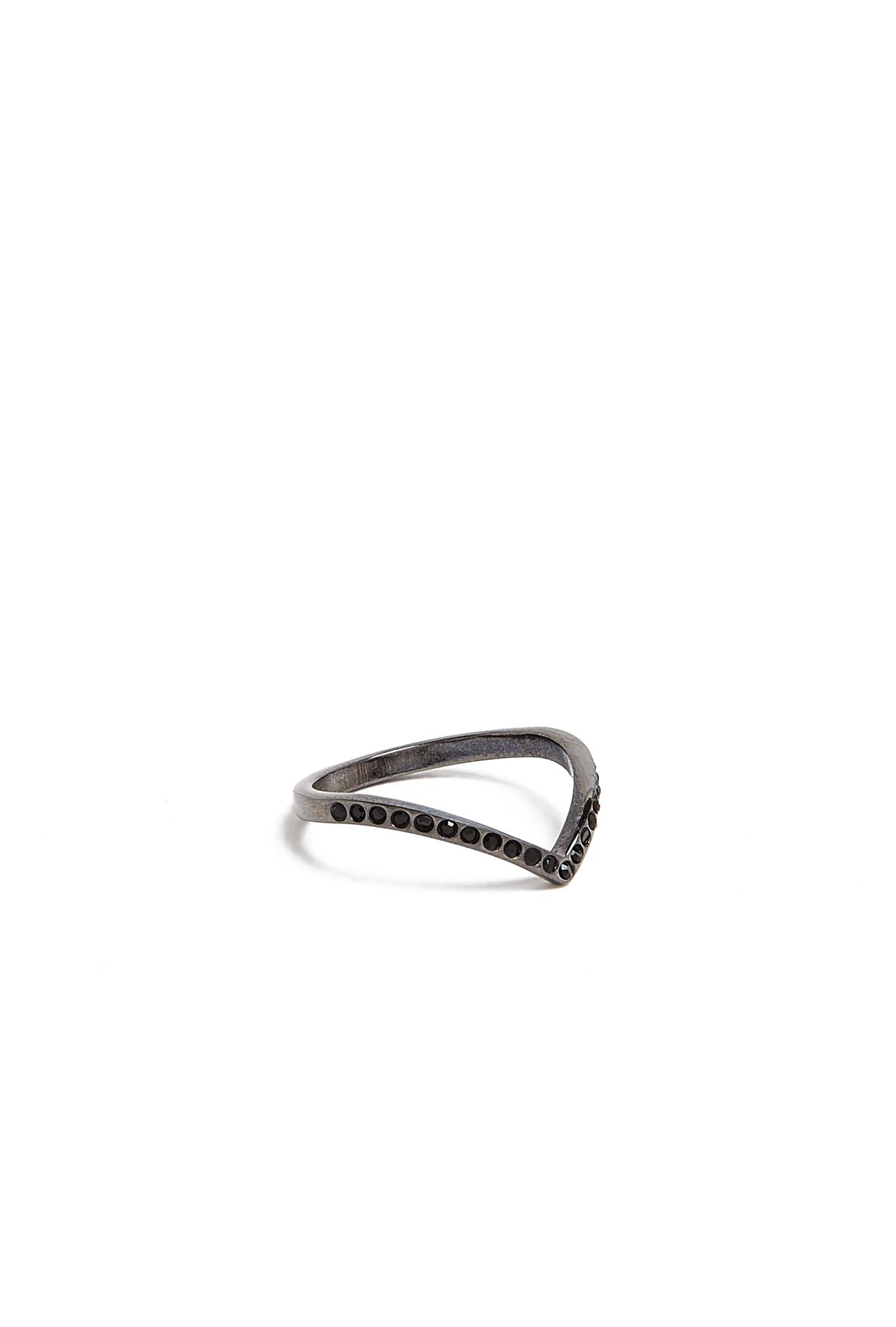 Vita Fede   Ultra Mini V Black Crystal Ring by Vita Fede