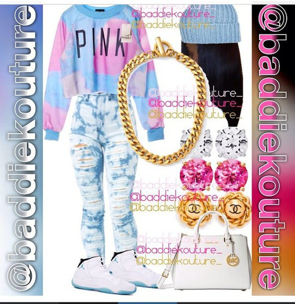 shirt sweater pink by victorias secret pink pink and blue style fashion shoes pants jeans jewels