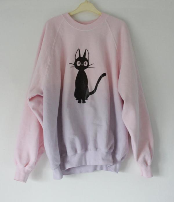 sweater luna cute blush pink kawaii pastel goth tokyo fashion cat sweater