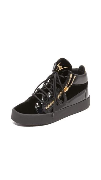 sneakers leather black velvet shoes