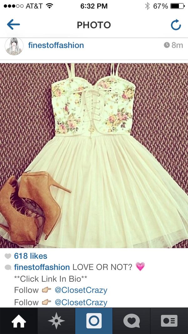 dress floral cute dress white dress