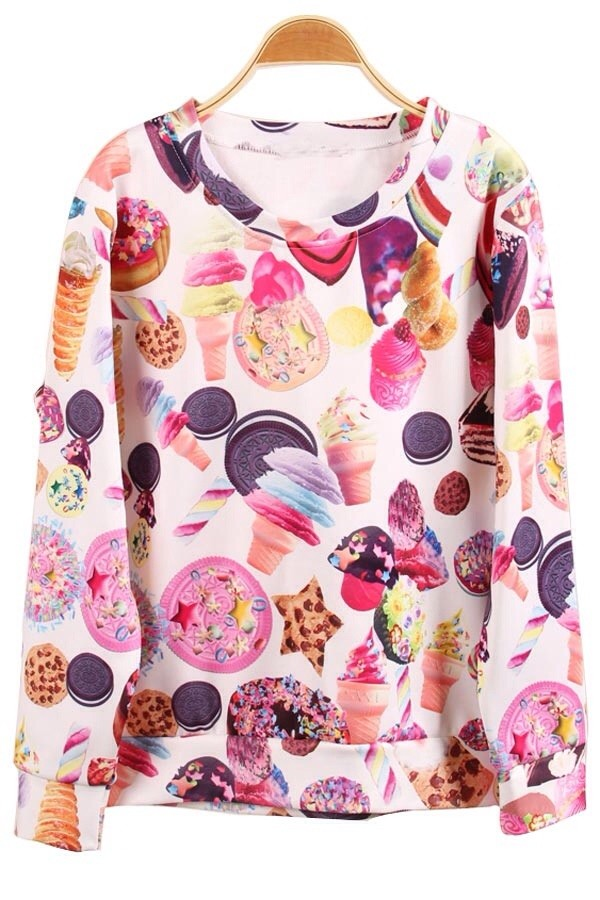 sweater sweatshirt junk food colorful underwear treats stoner harajuku candy ice cream 3d print designer sale ice cream blouse jumper white donut food donut crop tops