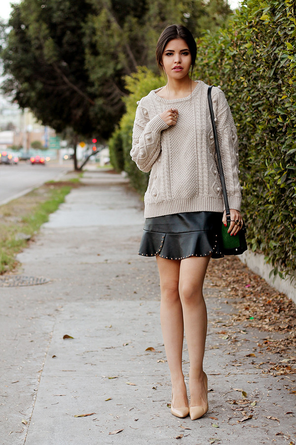 fake leather sweater skirt bag jewels shoes