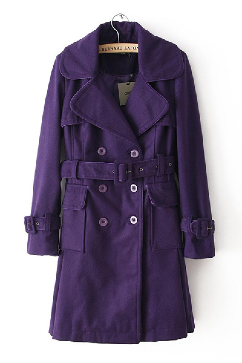 Purple Western Double-breasted Lapel With Belt Long Section Windbreaker ,Cheap in Wendybox.com