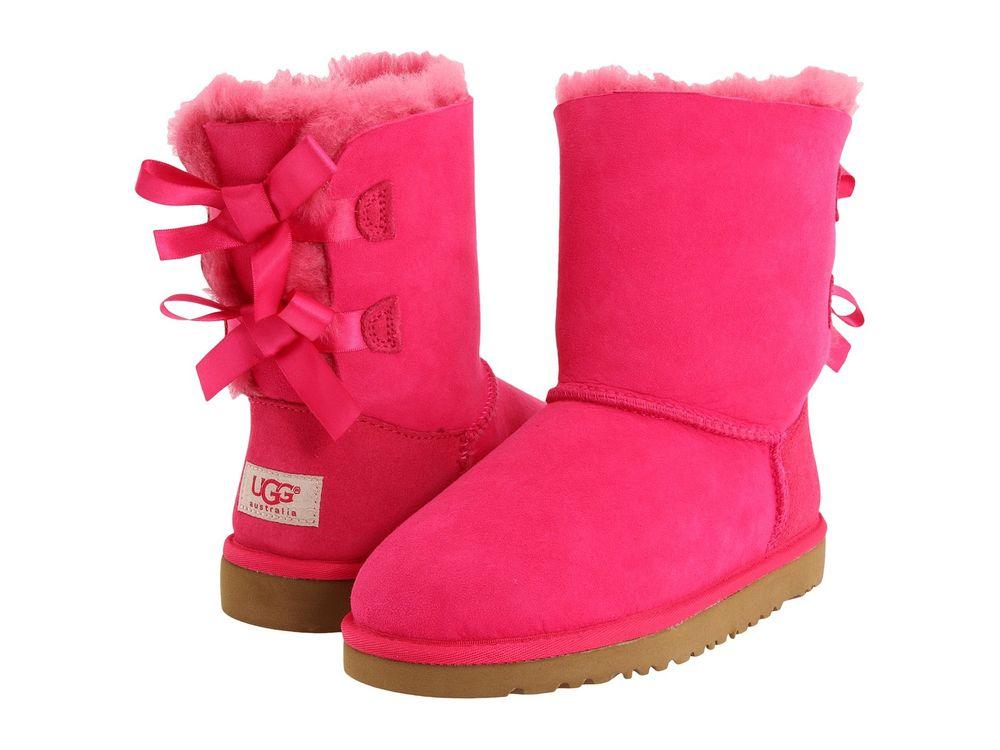 New Kids Girls Women UGG Australia Bailey Bow Cerise Hot Pink 3280 K | eBay