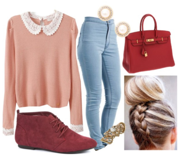 jeans bag blouse shoes shirt sweater long sleeves light blue