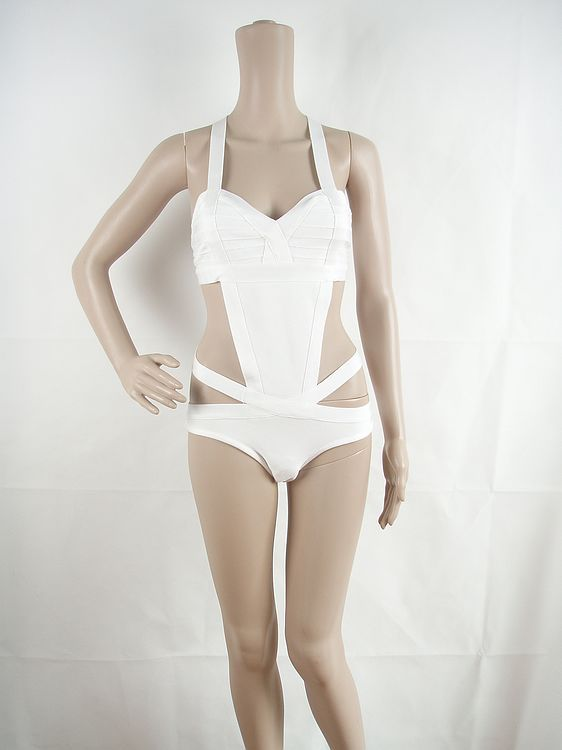 Cheap White HL Bandage Bikinis Elastic Knitted Sexy Swimwear White One piece Swimwear Swimsuit-in Bikinis Set from Apparel & Accessories on Aliexpress.com