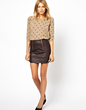 Oasis | Oasis Zip Back Leather Look Mini Skirt at ASOS