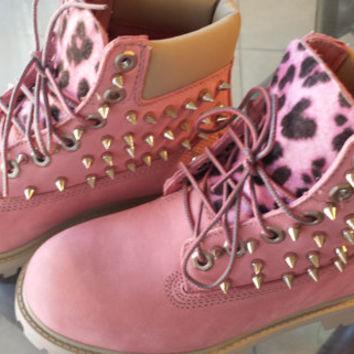 SALE:) Custom Pink Timberlands on Wanelo