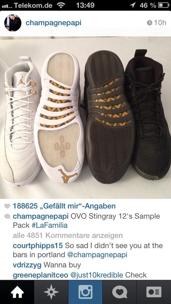 shoes jordan's drake ovoxo ovoxo black shoes black white
