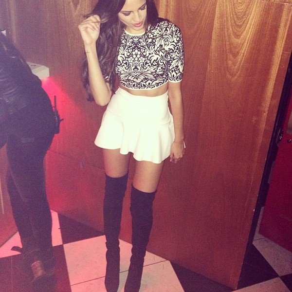 tank top boots crop tops oriental print shoes edgy skirt
