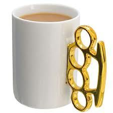 Knuckle Duster MUG White AND Gold Perfect Gift FOR Coffee Lovers | eBay