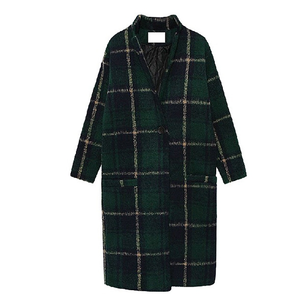 Winter Newly Contrast Color Plaids Long Wool Coat